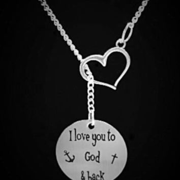 Heart I Love You To God And Back Cross Anchor Christmas Lariat Necklace