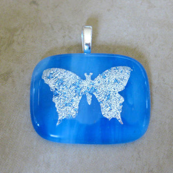 Butterfly Pendant, Blue Fused Glass Pendant, Blue Pendant, Silver Insect Jewelry, Butterfly Jewelry - Silver Wings - 3693 -2