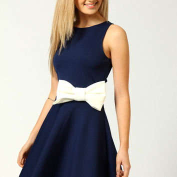 Penelope Skater Dress With Bow Detail