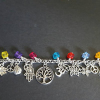 Healing tree of life stainless steel charm bracelet