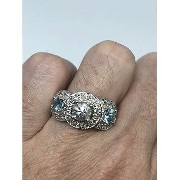 Vintage filigree white Sapphire Crystal Blue Topaz Sterling Silver ring