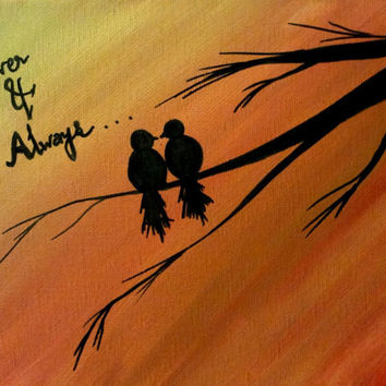 Love bird painting Bird art Bird lover Valentine gift Canvas wall decor Acrylic painting Canvas art Lovers gift Tree painting Valentine day