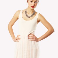 Theressa Thin Strapped Fitted Skater Dress in Nude at Fashion Union