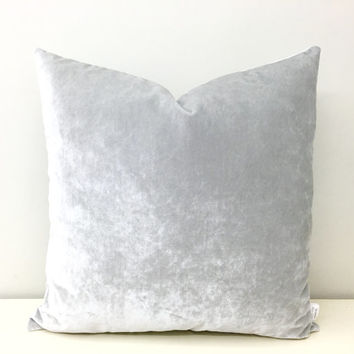 Silver Grey Velvet Pillow Cover, Grey Pillows, Velvet Pillow, Throw Pillows, Grey Velvet Cushion, Designer Pillow, Silver Grey Pillow Covers