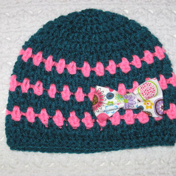 Teal and Pink Fruity Baby Hat with Bow- Baby shower, new baby, Baby's first winter