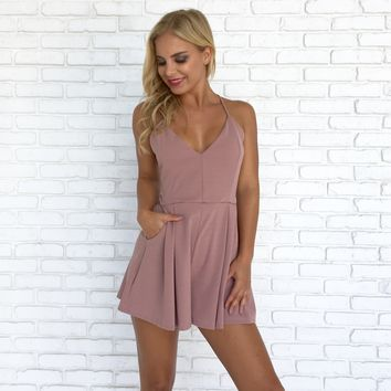 Gift Giving Lace Romper in Mauve