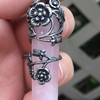 Tibetan Silver Flower Wrapped Rose Quartz Pendant