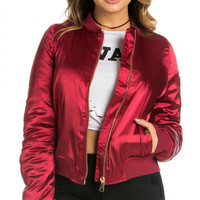 Red Satin Bomber