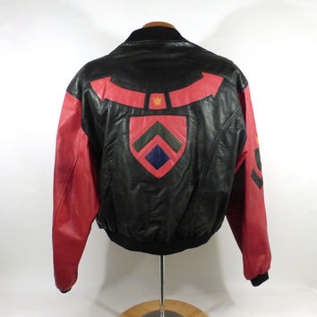 Colorblock Leather Coat Vintage 1990s Jacket Phillipe Marcel Men's size M