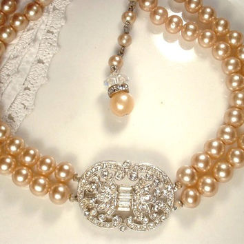 Original Art Deco Champagne Ivory Glass Pearl & Pave Rhinestone Bridal Necklace, Vintage Triple Strand Choker Ornate Clasp 1920s Gatsby