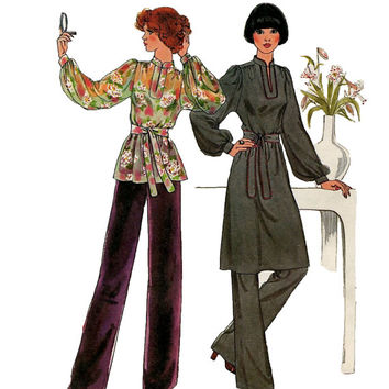 1970s Simplicity 7714 Womens Pullover Dress Pants & Tunic Top w/ Stand Up Collar Gathered Yoke Bust 34 36 Size 12 14 Vintage Sewing Patterns