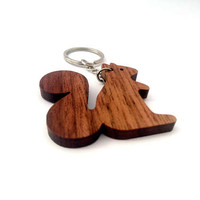 Wooden Squirrel Keychain, Walnut Wood, Animal Keychain, Environmental Friendly Green materials