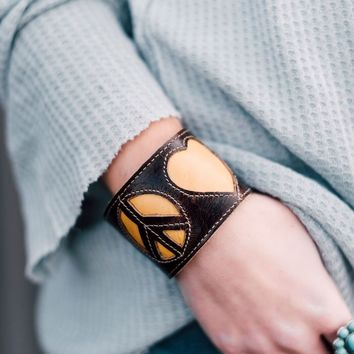 Love + Peace Wallet Cuff - Mustard
