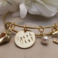 Beach Girl Bangle Bracelet with Swarovski Pearl Beach Ocean Nautical