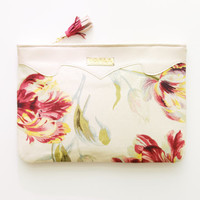 SUMMER / Leather & Linen floral clutch - Ready to Ship