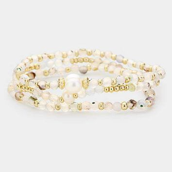 3Pcs Multi Strand Pearl Mixed Beads Stretch Bracelets