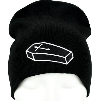 Voodoo Coffin Casket Beanie Occult Clothing Knit Cap