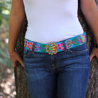 Peruvian Belt, Embroidered Belt, Floral Belt, Blue Belt