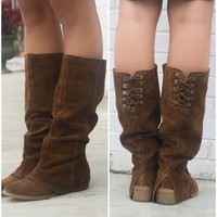 Naughty Monkey Arctic Solstice Brown Genuine Suede Tall Equestrian Boots
