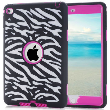Cute Laser Carving Dot Zebra Wave Combo Tablet Case Cover for iPad Mini 4 Screen Protective Film Stylus Pen Free Shipping