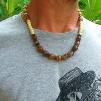 Agate Gemstone & Wooden Beaded Necklace / Mens Beaded Necklace / Hippie Beaded Necklace / Mens Choker Necklace / Boho Surfer Necklace
