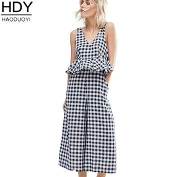 HDY Haoduoyi 2017 Summer Jumpsuit Women Jumpsuit with Peplum Waist in Gingham Casual Soft Sexy Romper Backless Basic Playsuit