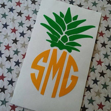 Pineapple Monogram | Pineapple Car Decal | Yeti Decal | Monogrammed Pineapple | Vinyl Decal | Preppy Pineapple