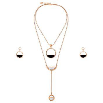 Rose Gold-Tone Open Circle Necklace and Earrings Set