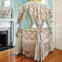 Addison Floral Round Iron Canopy Crib In Choice Of Finish : Blissful Bedtime at PoshTots