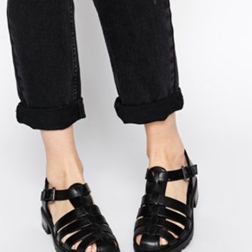 New Look Kuttlefish Caged Flat Shoes