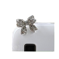 Bow Rhinestone JP-027-Silver Dust Plug / Earphone Jack Accessory / Ear Cap / Ear Jack for Iphone / I