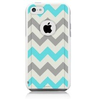 iPhone 5c Case [White] Chevron Tiffany Blue [Dual Layer] UnnitoTM *1 Year Warranty* Case Protective [Custom] Commuter Protection Cover [Hybrid]