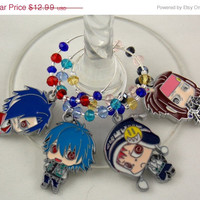 Dramatical Murder inspired geeky wine glass charms Set of 4 Anime charms handmade wine charms party wine charms