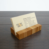 Business Card Holder. Bamboo Business Card Holder. Bamboo Card Holder. Wood Card Holder. Chocolate.