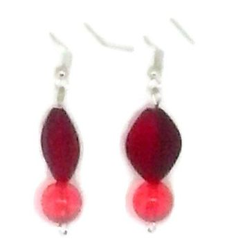 Red Diamond and Round Beaded Earrings