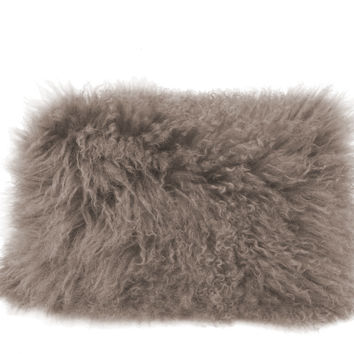 Lamb Fur Pillow Rect. Grey 100% Wool Front 100% Polyester Back