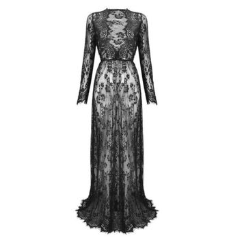 Gothic Bohemian Sexy Lace V-Neck Long Maxi Dress