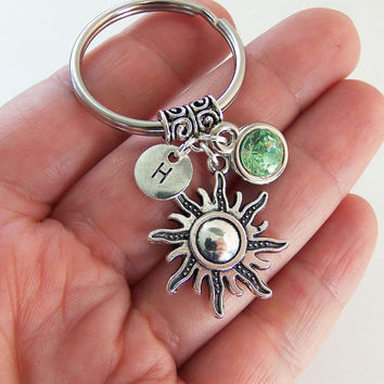 Sun keychain, sun key chain, sun keyring, sun key ring, grunge keychain, funky sun charm, stamped monogram initial, birthstones, celestial