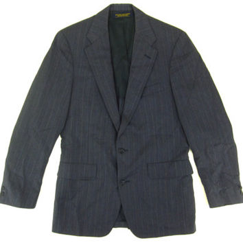 Vintage Brooks Brothers Jacket - Blue Grey Pinstripes Ivy League Menswear Blazer Sport Coat -Men's Size 38 Small S Medium