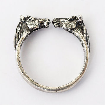 Two horses ring, Horse head rings, Horse ring, Silver ring, Silver jewelry, Horses rings, Sterling silver rings, Silver 925 ring