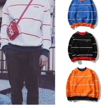 Supreme Fashion Embroidery Logo Round Neck Sweatshirt Top Sweater