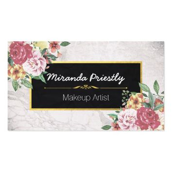 Makeup Artist & Hair Stylist Floral White Marble Business Card