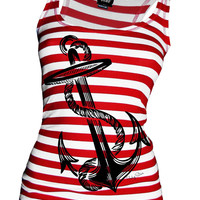 "Women's ""Anchors Aweigh"" Tank by Pinky Star (White/Red)"