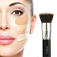Best Foundation Brush Flat Top Kabuki Synthetic Face Brush Applicator Blender - Great For Liquids, Creams, Contour, Powders, Mineral, Translucent Powder Makeup - Flawless Airbrush Application - Synthetic Bristles - Vegan Friendly - By New8Beauty