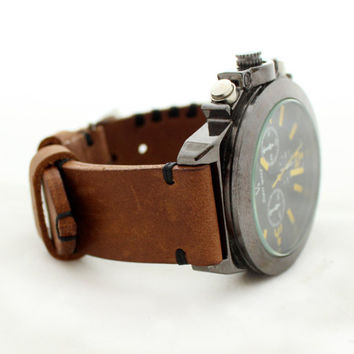 Leather Watch Strap Brown Men's Leather Watch Strap 22mm 24mm 26mm Watch Strap  Leather Wristwatch Strap watch strap Leather watch band