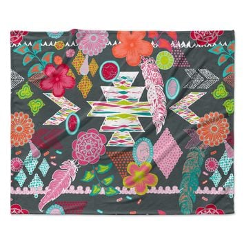 "Anneline Sophia ""Aztec Boho Tropical"" Gray Rainbow Fleece Throw Blanket"