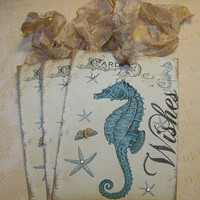 Beach Wedding Wish Tags Vintage Style - Set of 6
