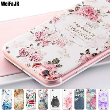 WeiFaJK Girl Phone Case for iPhone 6 6s 7 8 Plus Case for iPhone 5s 5 Women Relief Flower Silicone TPU Soft Cover X Full Coque