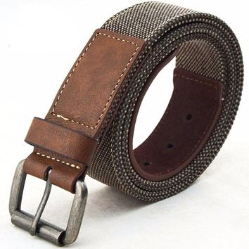 High Quality Casual Canvas PU Leather Belt