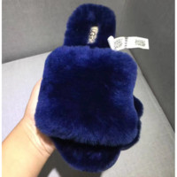 UGG Sheep fur one word drag the new autumn/winter slippers Navy blue